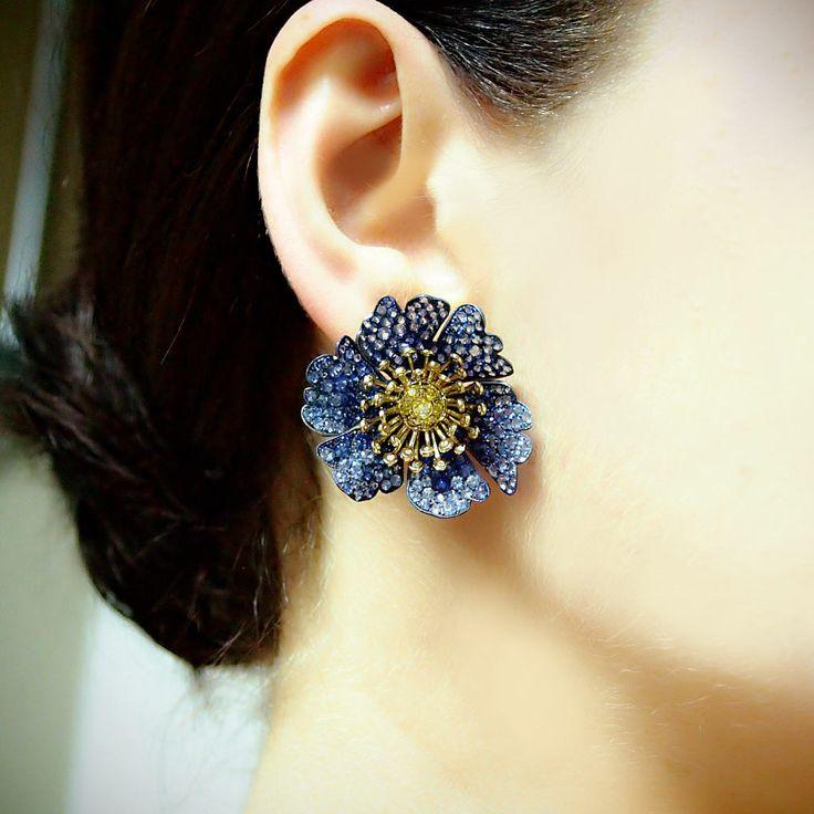 """""""Hothouse"""" Sapphire Diamond Flower Earrings - Plukka - Shop Fine Jewelry Online"""