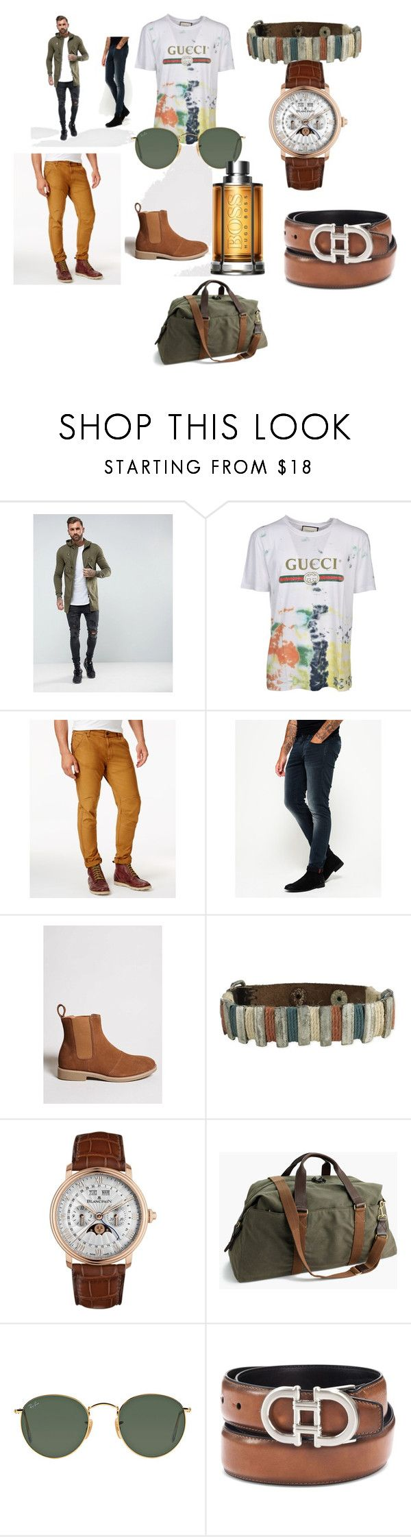 """""""#chick#trend#moda#men#"""" by hannazakaria ❤ liked on Polyvore featuring Religion Clothing, Gucci, American Rag Cie, Superdry, 21 Men, Blancpain, J.Crew, Ray-Ban, Alfani and HUGO"""