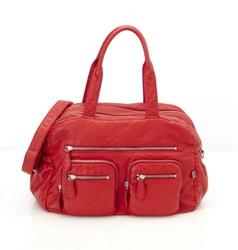 OiOi Red Faux Lizard Carry All Nappy Bag