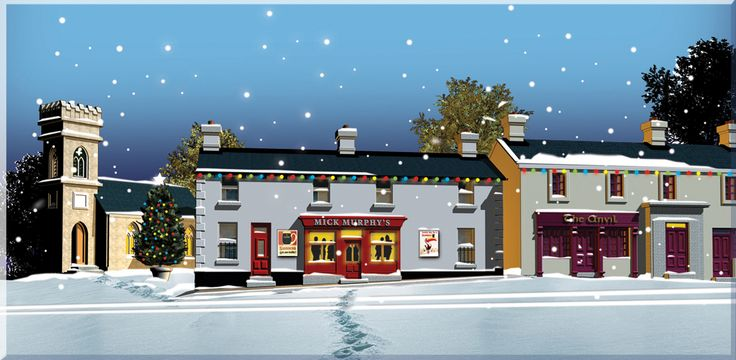 A traditional irish pub located in Ballymore at Christmas time