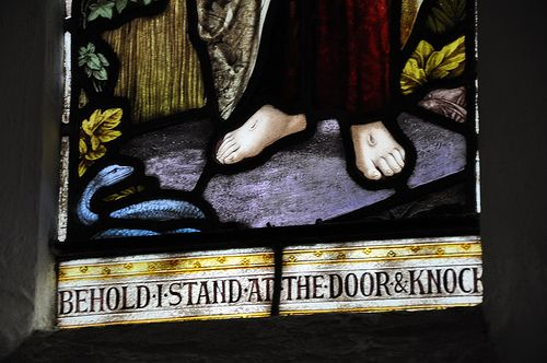 Cold Aston St Andrew south-west chancel window 'Behold I stand at the door and knock', Butler and Baynes 1909 -113