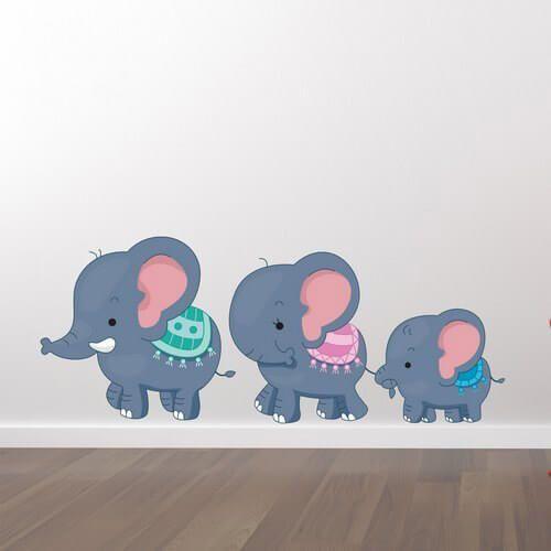 En Wallstickers med 3 søde elefanter i god kvalitet