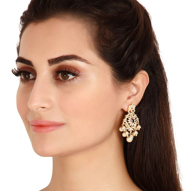 Zircon Earring 55953BS #Kushals #Jewellery #Fashion #Indian #Jewellery #Earrings #Designer  #hangings  #modern #unique