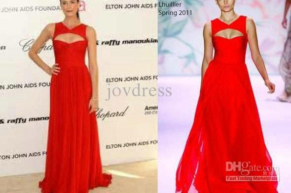 Wholesale Celebrity Dresses - Buy New Arrive Sexy A-line Floor Length Red Chiffon Oscar Evening Dresses Ruffle Prom Celebrity Dresses 2013, $106.89   DHgate