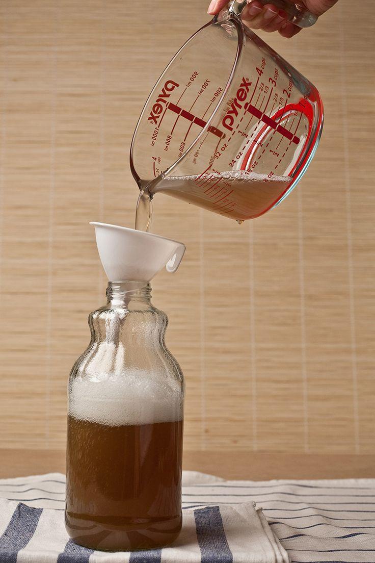storing soap nut liquid into bottle
