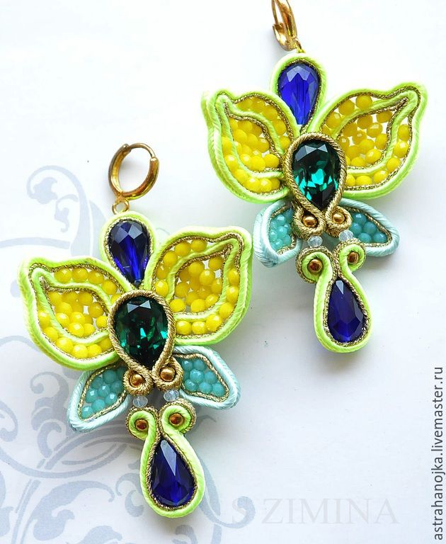 Купить Серьги Лимонные орхидеи - салатовый, сутажная техника, сутажные украшения, серьги