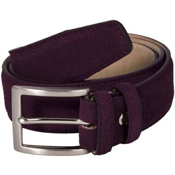 Shop for 40 Colori Trento Suede Leather Belt - Burgundy at KJ Beckett.