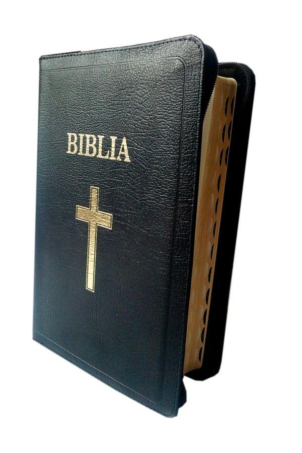 Biblie de lux, mare, din piele, cu fermoar, index, margini aurii, cu cruce [SI 073 PFI]