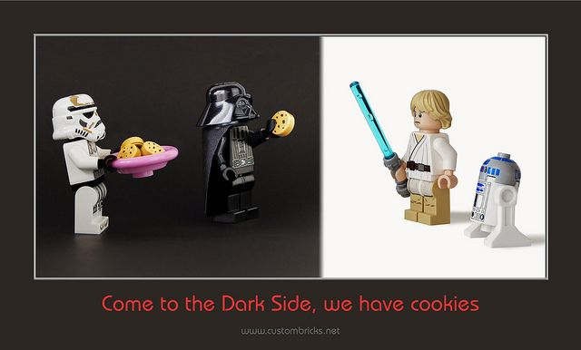 We Have Cookies.  Luke and R2 briefly consider such a tempting offer.  Lego Darth Vader, Stormtrooper, and R2D2.