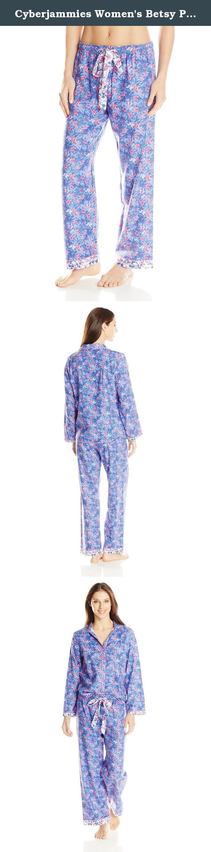 Cyberjammies Women's Betsy Print Pajama Set, Purple Mix, 10/Medium. Cyberjammies offer exceptional quality nightwear and lounge wear, too good to sleep in. Our fabrics are extra soft and specifically designed for comfort in bed. Our colors, trims and styling are fun and different. Fit is comfortable, yet feminine to ensure you look stylish in the bedroom or on the sofa.