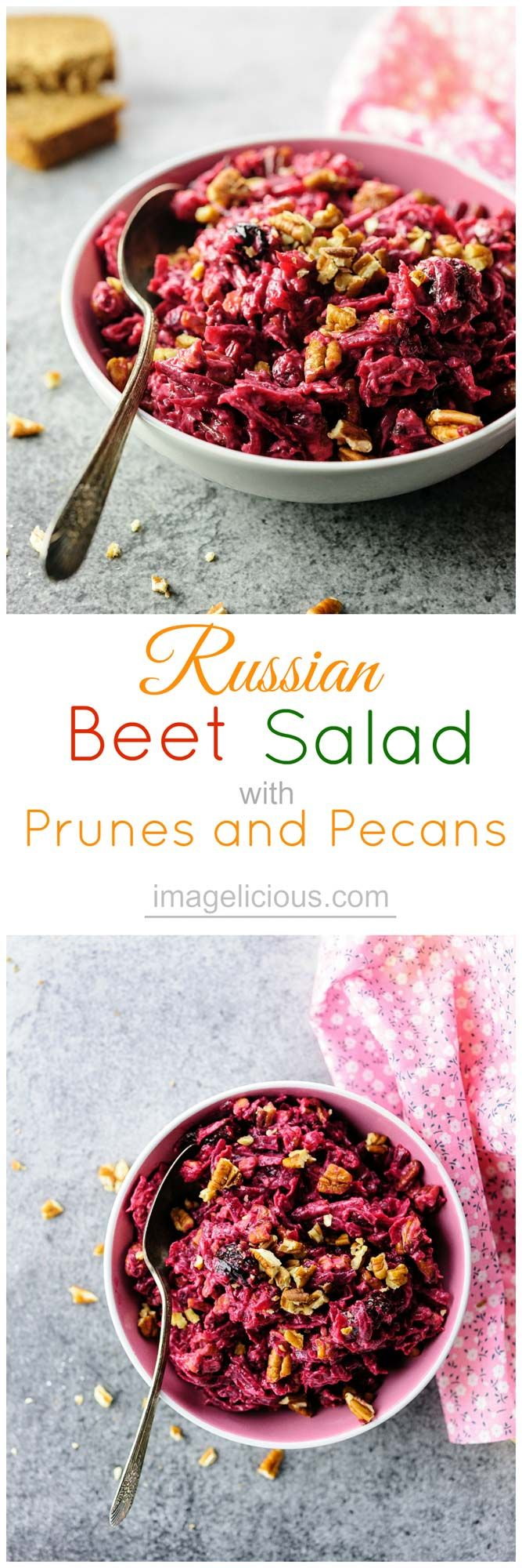 Russian Beet Salad with Prunes and Pecans is perfect for winter months. Packed with nutrients and vitamins, it uses seasonal beets and is also budget friendly | Imagelicious
