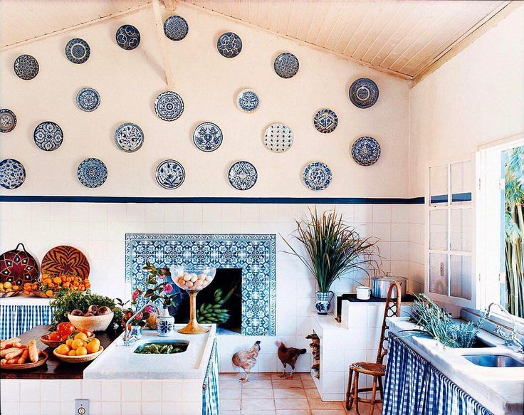 "1,120 Likes, 12 Comments - Vogue Living (@vogueliving_us) on Instagram: ""A blue and white kitchen, complete with tiles from Lisbon and Turkish plates. Photographed by…"""