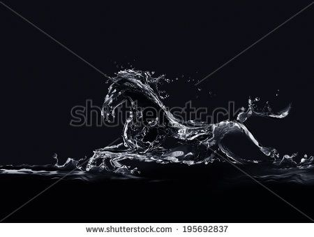 A silhouette of a running horse made of water on black background. - stock photo