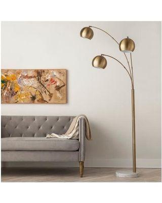 threshold-3 globe arc floor lamp antique-brass target