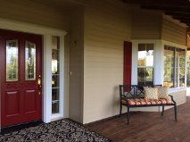 """Sherwin Williams """"Stolen Kiss"""" is the perfect red to coordinate with beige as well as other colors."""