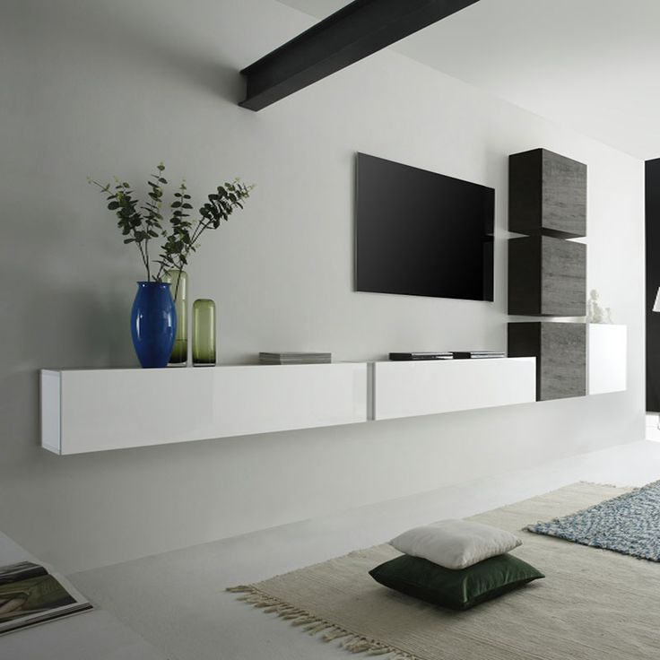 ensemble meuble tv suspendu blanc laqu et weng moderne. Black Bedroom Furniture Sets. Home Design Ideas