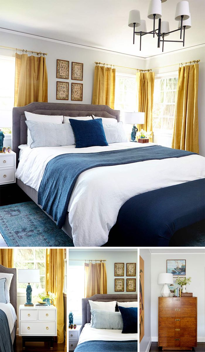 Navy yellow bedrooms house paint interior and yellow kitchen walls - Bedroom Makeover From Emily Henderson Love The Shades Of Rich Blue Combined With A Pop Blue Gray Bedroomyellow