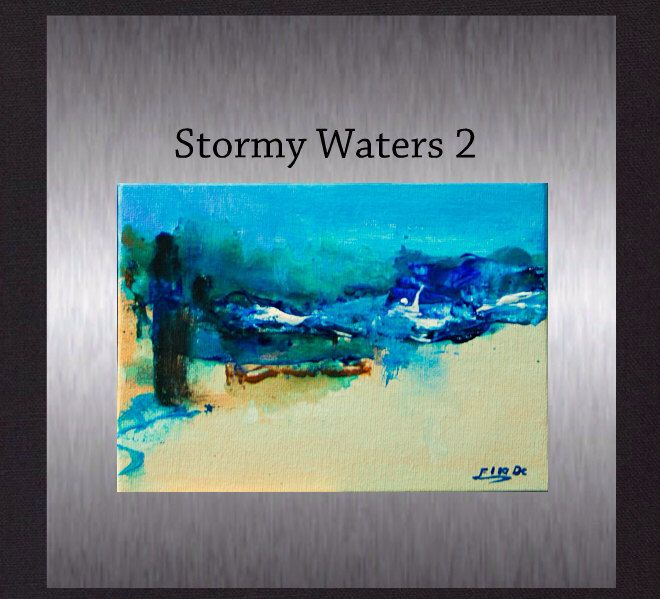 """Stormy Waters 2 - Original Modern Art. Abstract Painting not a print. Hand Painted 5""""x7"""". by ElcoStudio on Etsy"""