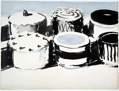 Untitled, 1963, Wayne Thiebaud, ink wash in blue and black, 16 3/4 x 22 1/4 in. (42.5 x 56.5 cm), Smithsonian American Art Museum, Gift of Manuel Neri, 2001.27