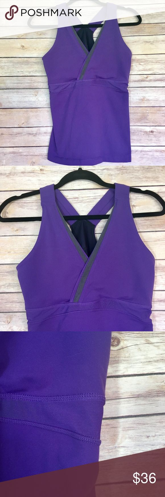 "Lululemon Racerback Mesh Panel V-Neck Tank NWOT Never worn Lululemon sport top. Racerback straps, v-neck, mesh panels for breathability. Small mesh pocket located at lower back. Built in elastic bra. Approx 24"" long. No trades, please. Offers welcome. lululemon athletica Tops Tank Tops"