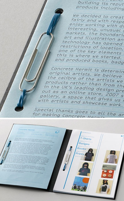 Smart Idea - A rubber band and paper clip binding technique from Studio EMMI.