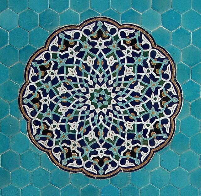 Mandala* blue-green, hexies background**beautiful!!