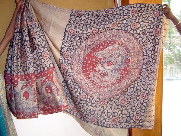 Tussar Silk kalamkari Saree