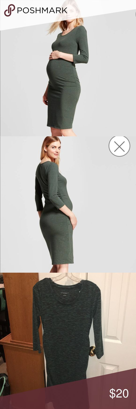 Liz Lange Bodycon Maternity Dress! NWOT hunter green maternity dress from Liz Lange. 3/4 sleeve Knee length stretch dress that shows off your baby bump beautifully! 84%polyester, 11%Rayon, 5%spandex.  The most comfortable dress ever while your carrying a sweet little one inside! Accentuates your mommy curves and keeps you styling and comfortable! ! A must have! ❤️ Liz Lange Maternity Dresses
