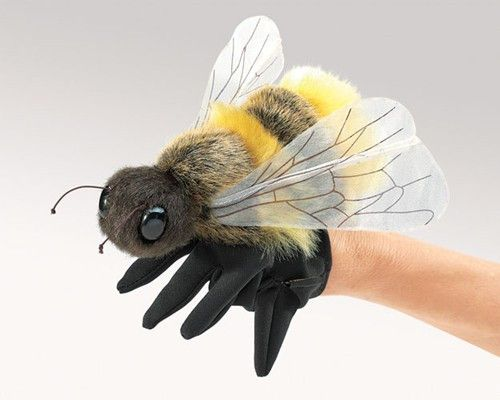 No humble bumble, the HONEY BEE puppet is a plump and plush dynamo deserving of our attention. After all, life would not be so sweet without the important work of these busy pollinators. Puppet Dimens