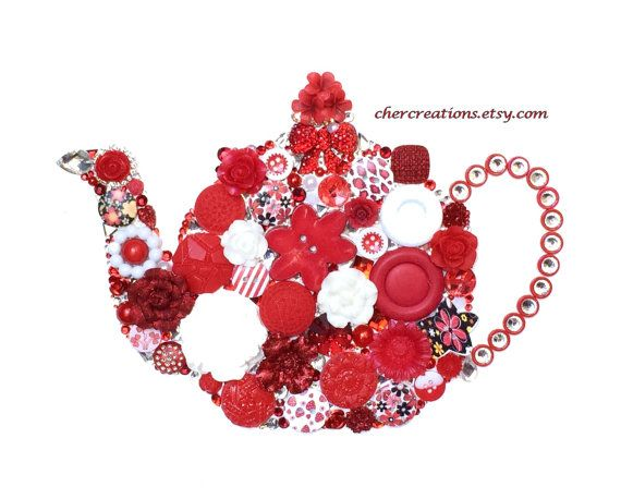 TEAPOT 25 Red & White 8x10 Button Art Button by CherCreations