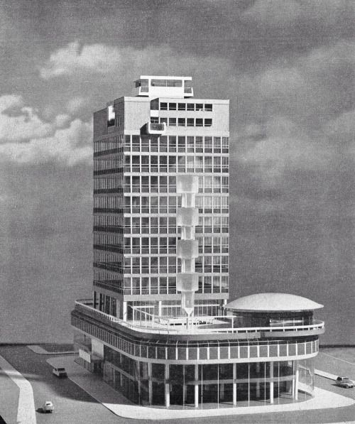 "bluecote:  "" swiss centre (model), leicester square, london  david aberdeen, 1966  (demolished 2007)  """