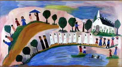 Panorama of Baptism on Cane River, 1945 by Clementine Hunter - oil on window shade. The painting is at the Ogden Museum of Southern Art in New Orleans, Louisiana.