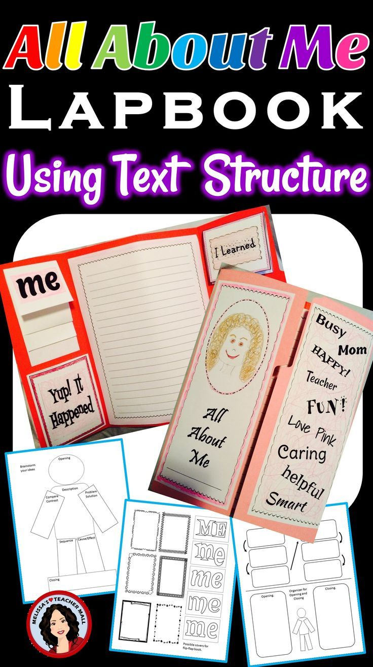 Here's a twist on All About Me. Have students write a Personal Narrative piece using a different text structure for each paragraph. Students will use a series of graphic organizers and then write an All About Me paragraph for each text structure. Next put together an All About Me Lapbook. Their Lapbook will feature 5 All About Me cut-out/foldables, one for each text structure, and a 7 paragraph essay. This structured Essay works great as a display piece.