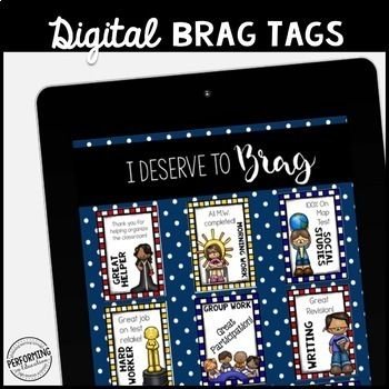 These awesome brag tags are completely digital and are 100% PAPERLESS! This resource includes a variety of beautiful brag tags that can be customized with your text. You can make ENDLESS combinations of brag tags! -Make all of your tags at the beginning of the year