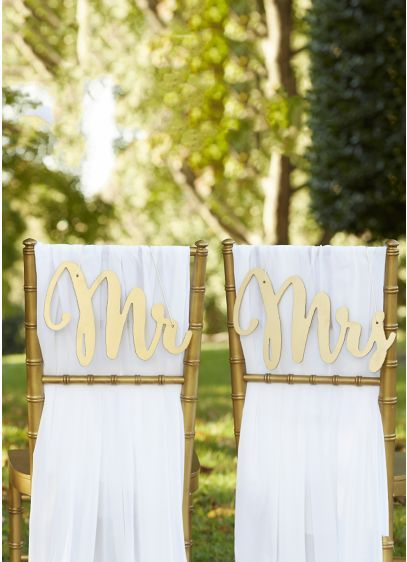 Gold Promises Classic Mr and Mrs Chair Signs 18093GD