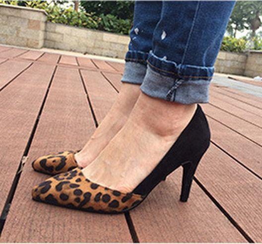 Moda Patchwork bombas sapatos de couro genuíno breve azul sapatos de leopardo mulheres bombas