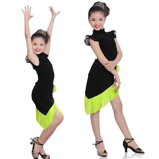 Девушки Бахромой Латинский Танец Dress Black Mesh Плеча Младший Латинской Платья Дети Ча-Ча Румба Сальса Танец Костюм