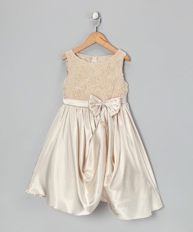 Love this Champagne Rosette Gathered Dress - Toddler & Girls by Kid's Dream on #zulily! #zulilyfinds