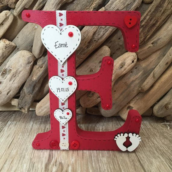 Freestanding Wooden Letter Personalised Handmade Christening New Baby Newborn