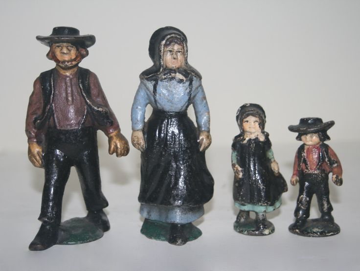Antique Cast Iron Amish Family Figurines by TheOldGreenGarage on Etsy