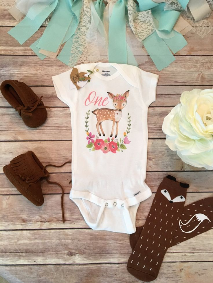 One Baby Bodysuit, First Birthday Outfit Girl, Birthday Onesie®, Baby Girl Clothes, Girl Deer Onesie, Boho Baby Clothes, Cute Baby Clothes by BittyandBoho on Etsy https://www.etsy.com/listing/459282004/one-baby-bodysuit-first-birthday-outfit