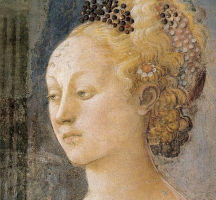 """FILIPPO LIPPI (Fra) - Erodiade da """"Banchetto di Erode - affresco - 1452-1465…"""