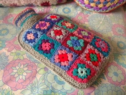A Granny Square Hot Water Bottle Cover - Granny Chic Cuddliness