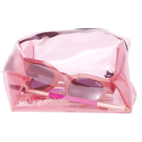 Pink Clear Make Up Bag ($6) ❤ liked on Polyvore featuring beauty products, beauty accessories, bags & cases, wash bag, cosmetic purse, travel bag, makeup bag case and travel toiletry case