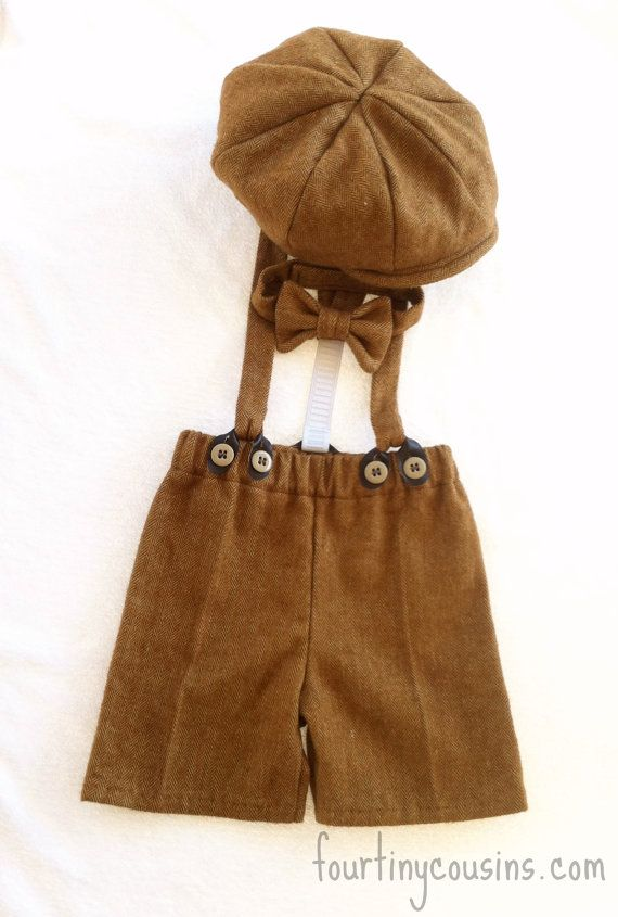 Newsboy Set - Baby newsboy hat - boys shorts - Suspenders - Bow tie - Newsboy Hat - baby boy photo prop - ring bearer outfit