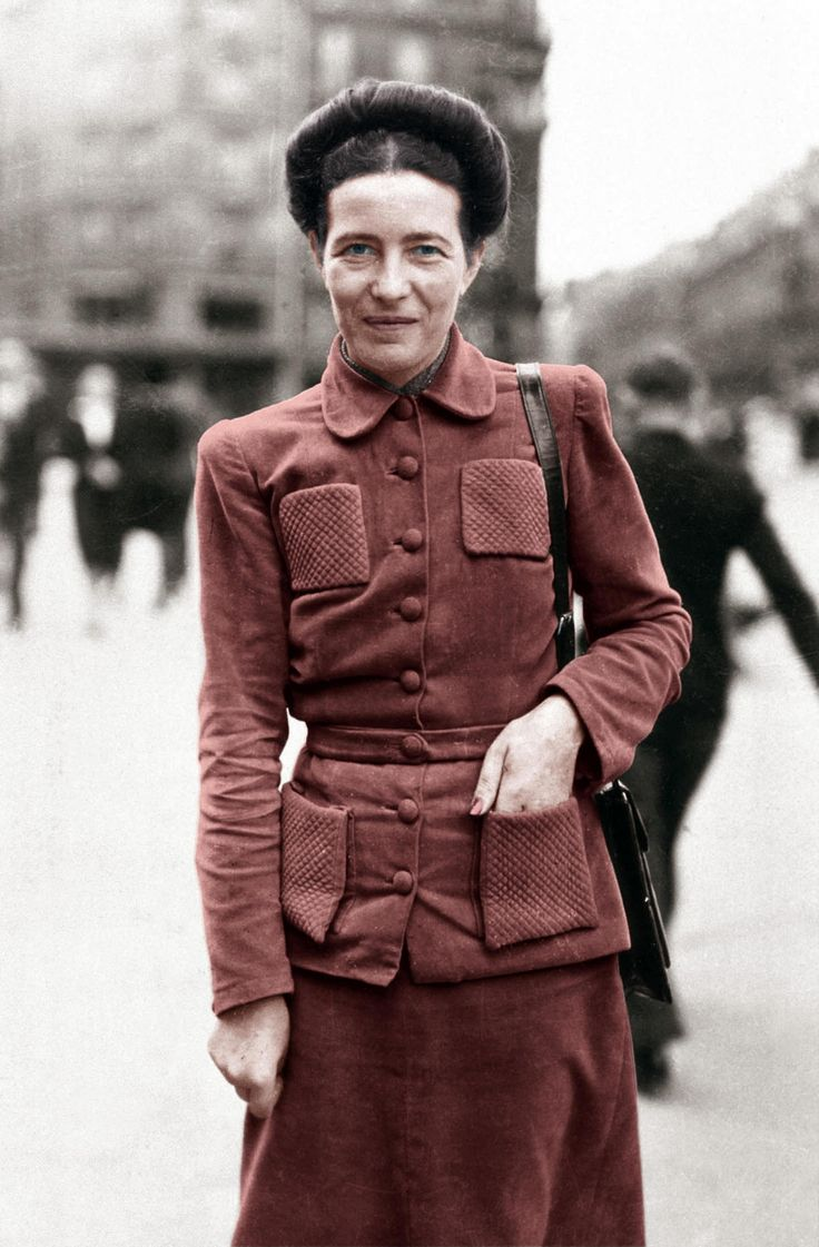 Rust brown burgundy wine suit | Simone de Beauvoir. Saint-Germain-de-Prés, Paris, c. 1946.