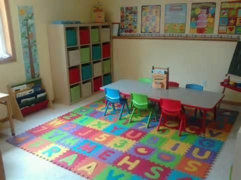 Daycare Preschool Room, Tots Daycare, Academy Preschool, Preschool Setup, Choo Daycare, In Home Daycare Rooms, Daycare Learning, Daycare Fun, Learning Ideas