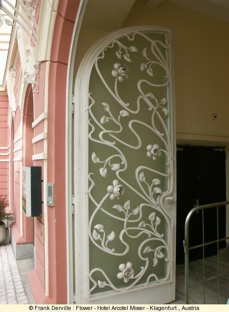 Hotel Arcotel Moser / Klagenfurt, Austria: Books Covers, Wrought Irons Doors, Covers Books, Beautiful Doors, Art Nouveau Flowers, Screens Doors, Arcotel Moser, Belle Epoque, Pink Doors
