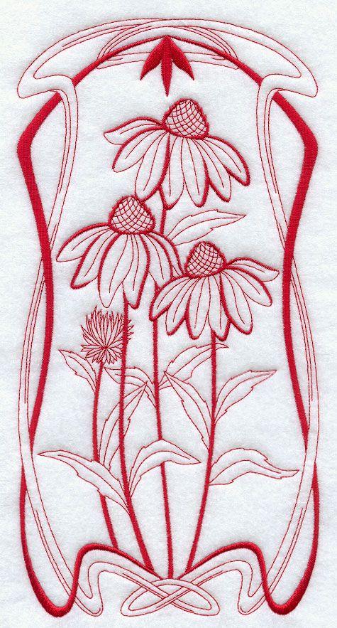 Art Nouveau Coneflowers (Redwork)