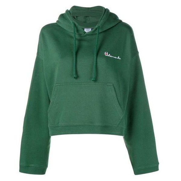 VETEMENTS Hooded Sweatshirt ❤ liked on Polyvore featuring tops, hoodies, hoodie top, green hoodies, green hooded sweatshirt, hooded pullover and green top